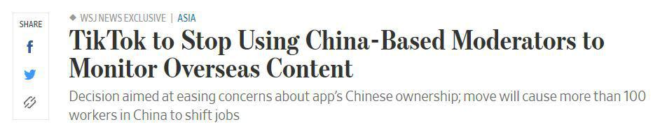 News headline about China-based moderators.