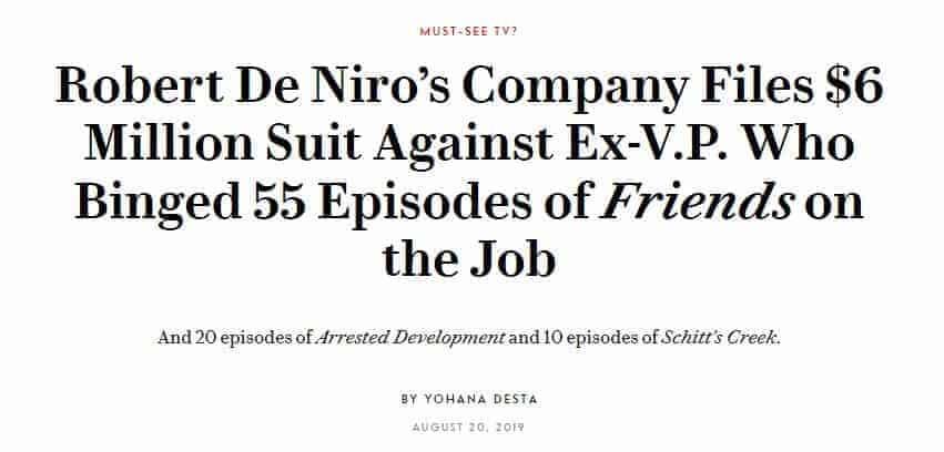 A headline about the DeNiro case.