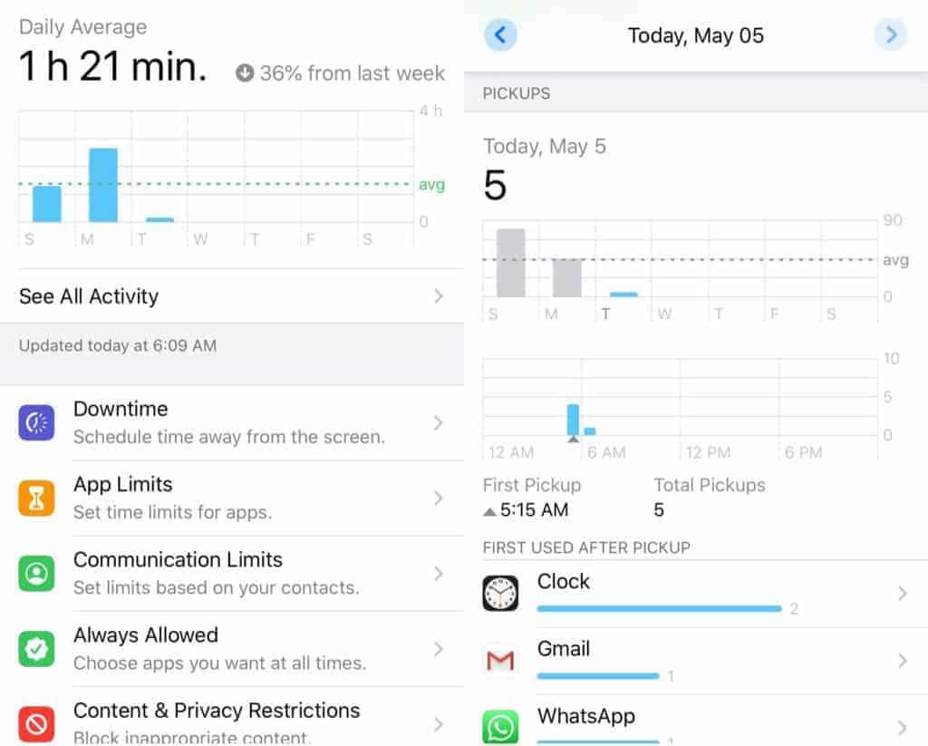 The iOS Screen Time app.